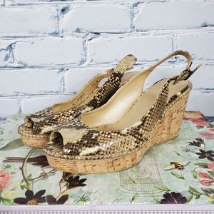Stuart Weitzman Jean Snake Print Wedge Sandals